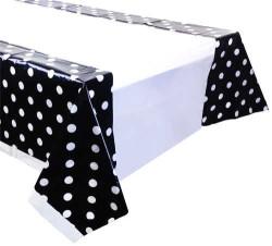 - Puanlı Siyah Masa Örtüsü (108x180 cm) 1'li Paket