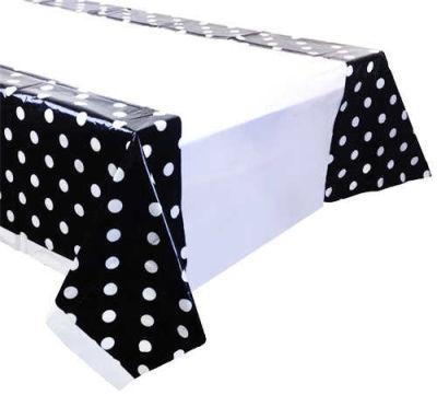 Puanlı Siyah Masa Örtüsü (108x180 cm) 1'li Paket