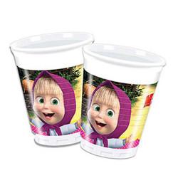 - Masha ve Koca Ayı Plastik Bardak (200 cc) 8'li Paket