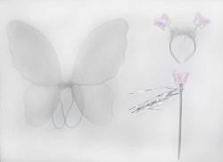 - Melekli Kelebek Set Simli Beyaz