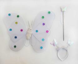 - Melekli Kelebek Set Yıldızlı Beyaz