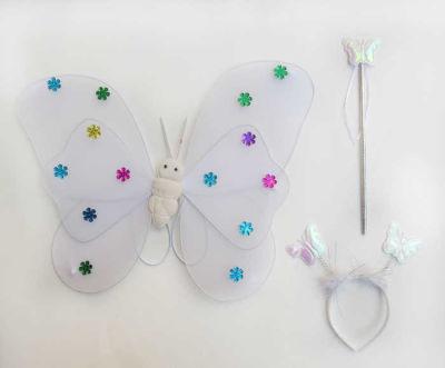 Melekli Kelebek Set Yıldızlı Beyaz