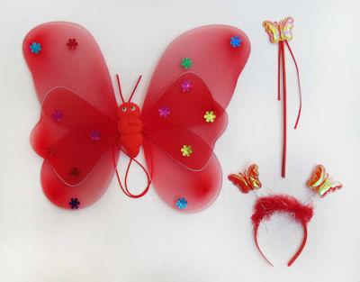 Melekli Kelebek Set Yıldızlı Kırmızı