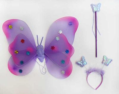 Melekli Kelebek Set Yıldızlı Lila