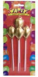 - Balonlu Ve Çubuklu Altın Mum 4'lü Pk.