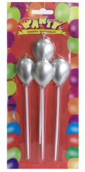 - Balonlu Ve Çubuklu Gümüş Mum 4'lü Pk.