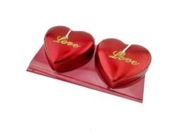 - Kalpli Love Yazılı Kırmızı Simli Mum