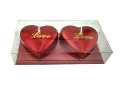 Kalpli Love Yazılı Kırmızı Simli Mum - Thumbnail
