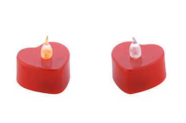 Mum Tealight Pilli Kalp Modeli Kırmızı