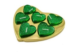- Tealight Simli Kalpli Kutulu Yeşil Mum