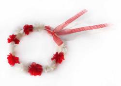 - Nedime Tacı Yuvarlak Şifon Çiçekli Kırmızı