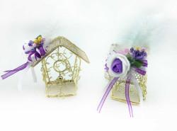 - Nikah Şekeri Kuş Yuvası Ev Modeli Tel Altın