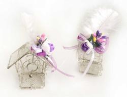 - Nikah Şekeri Kuş Yuvası Ev Modeli Tel Gümüş