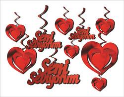 - Orta Süs 3 Boyutlu Seni Seviyorum Krmz Pk10 Lu Set