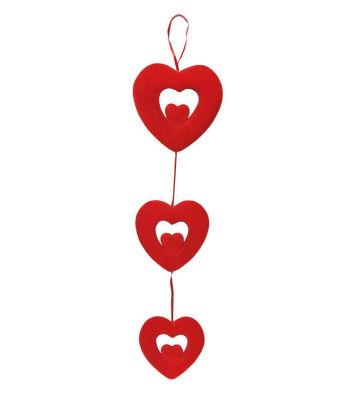 Çift Kalp Flok Kaplama 3 Lü Set