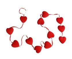 - Kalp Flok Kaplama Kırmız 12 Li Set Süs