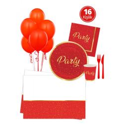 - Parti Zamanı Kırmızı Parti Seti 16 Kişilik