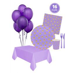 - Pastel Düşler Lila Parti Seti 16 Kişilik