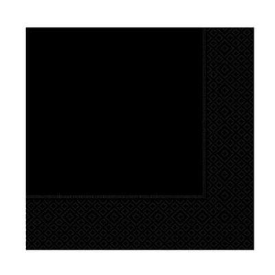 Desenli Siyah Peçete (33x33 cm) 20'li Paket