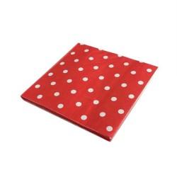 - Puantiyeli Kırmızı Peçete (33x33 cm) 20'li Paket