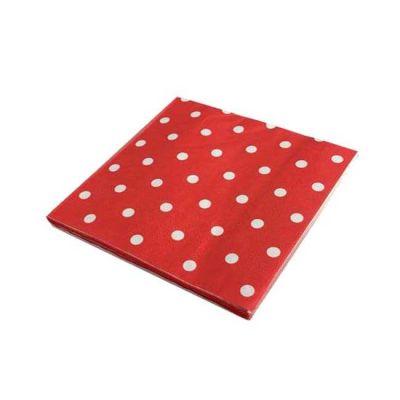 Puantiyeli Kırmızı Peçete (33x33 cm) 20'li Paket