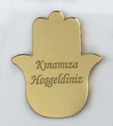 - Pleksi Figür 1mm Yapışkanlı 3x3 Cm Kınaeli Altın P25