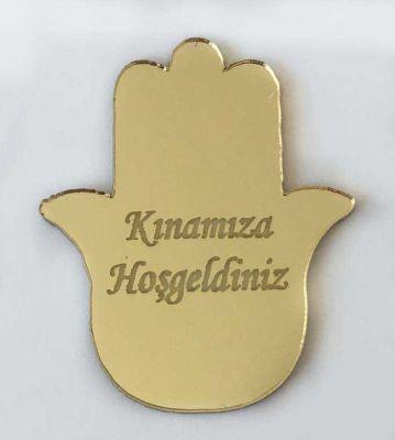 Pleksi Figür 1mm Yapışkanlı 3x3 Cm Kınaeli Altın P25