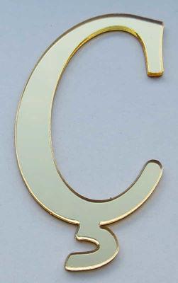 Yapışkanlı Pleksi Harf 1mm 4x4 cm Altın Ç