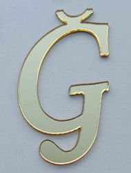 Yapışkanlı Pleksi Harf 1mm 4x4 cm Altın Ğ - Thumbnail