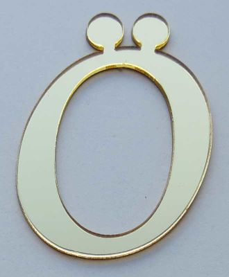 Yapışkanlı Pleksi Harf 1mm 4x4 cm Altın Ö