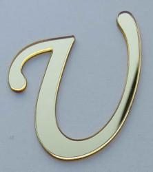 - Yapışkanlı Pleksi Harf 1mm 4x4 cm Altın U