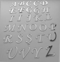 Yapışkanlı Pleksi Harf 1mm 4x4 cm Gümüş Ö - Thumbnail