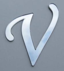- Yapışkanlı Pleksi Harf 1mm 4x4 cm Gümüş V