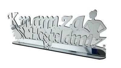 Kınamıza Hoşgeldiniz Gümüş Pleksi Masa İsimliği