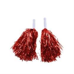 - Ponpon Metalize Çiftli Kırmızı