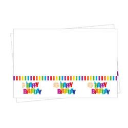 - Renkli Doğum Günü Plastik Masa Örtüsü (120x180 cm) 1'li Paket