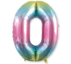 - Renkli Folyo Balon 0 Rakam 40 İnç 100 cm.