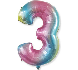 - Renkli Folyo Balon 3 Rakam 40 İnç 100 cm.
