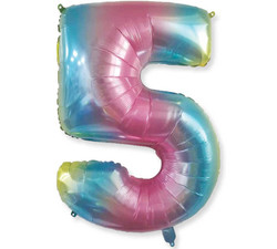 - Renkli Folyo Balon 5 Rakam 40 İnç 100 cm.