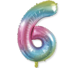 - Renkli Folyo Balon 6 Rakam 40 İnç 100 cm.