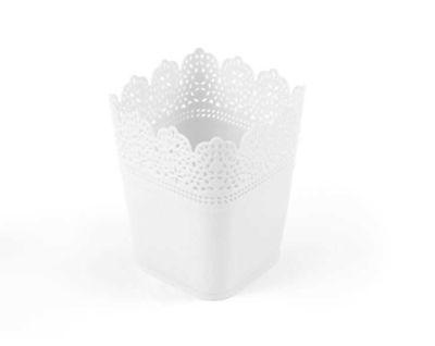 Saksı Dantelli Plastik Beyaz