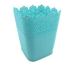 - Saksı Dantelli Plastik Pastel Mavi