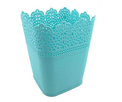 Saksı Dantelli Plastik Pastel Mavi