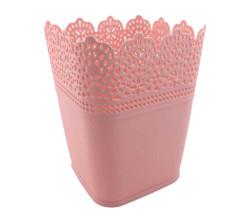 - Saksı Dantelli Plastik Pastel Pembe