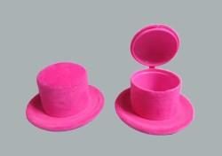 - Flok Kaplama Kutu Şapka Fuşya