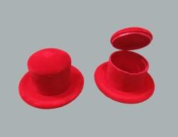 - Flok Kaplama Kutu Şapka Kırmızı