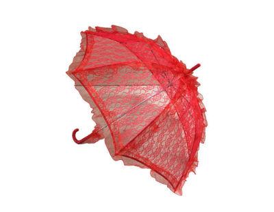Şemsiye Dantel İşlemeli Kırmızı
