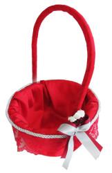 - Yuvalak Uzun Saplı Dantelli Sepet Kırmızı