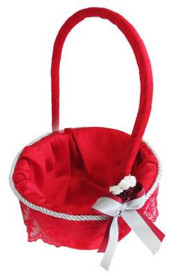 Yuvalak Uzun Saplı Dantelli Sepet Kırmızı