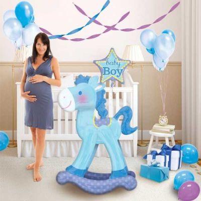 Sevimli Sallanan At Mavi Folyo Balon (58x127 cm)